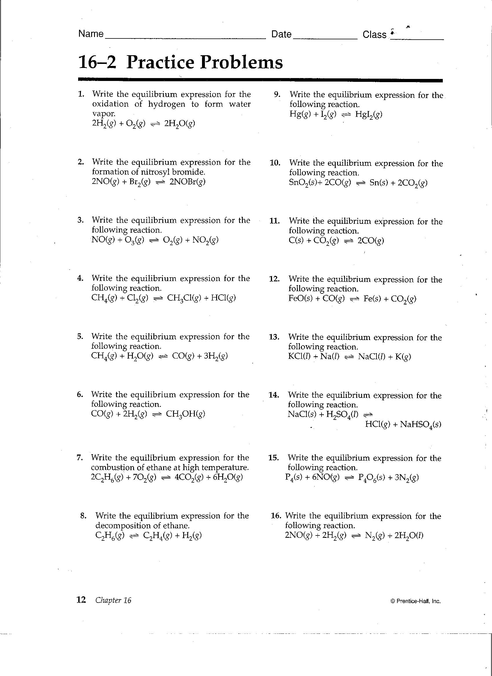 worksheet. Chemical Equilibrium Worksheet Answers. Worksheet Fun ...